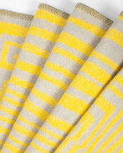 "Load image into Gallery viewer, ""Obscure Chess"" Pure Wool Blanket by Jonathan Ryan Storm. Gray/Yellow"