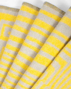 """Obscure Chess"" Pure Wool Blanket by Jonathan Ryan Storm. Gray/Yellow"