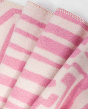 "Load image into Gallery viewer, ""Obscure Chess"" Pure Wool Blanket by Jonathan Ryan Storm. Pink/White"