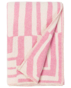 """Obscure Chess"" Pure Wool Blanket by Jonathan Ryan Storm. Pink/White"