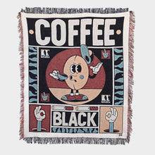 "Load image into Gallery viewer, ""Coffee Black"" Woven Art Blanket by YeYe Weller"