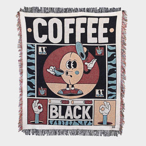 """Coffee Black"" Woven Art Blanket by YeYe Weller"