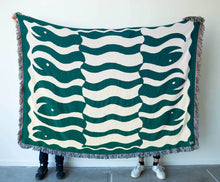 "Load image into Gallery viewer, ""Happy Snakes"" Dark Moss Green. Woven Art Blanket by Everyday Shaman"
