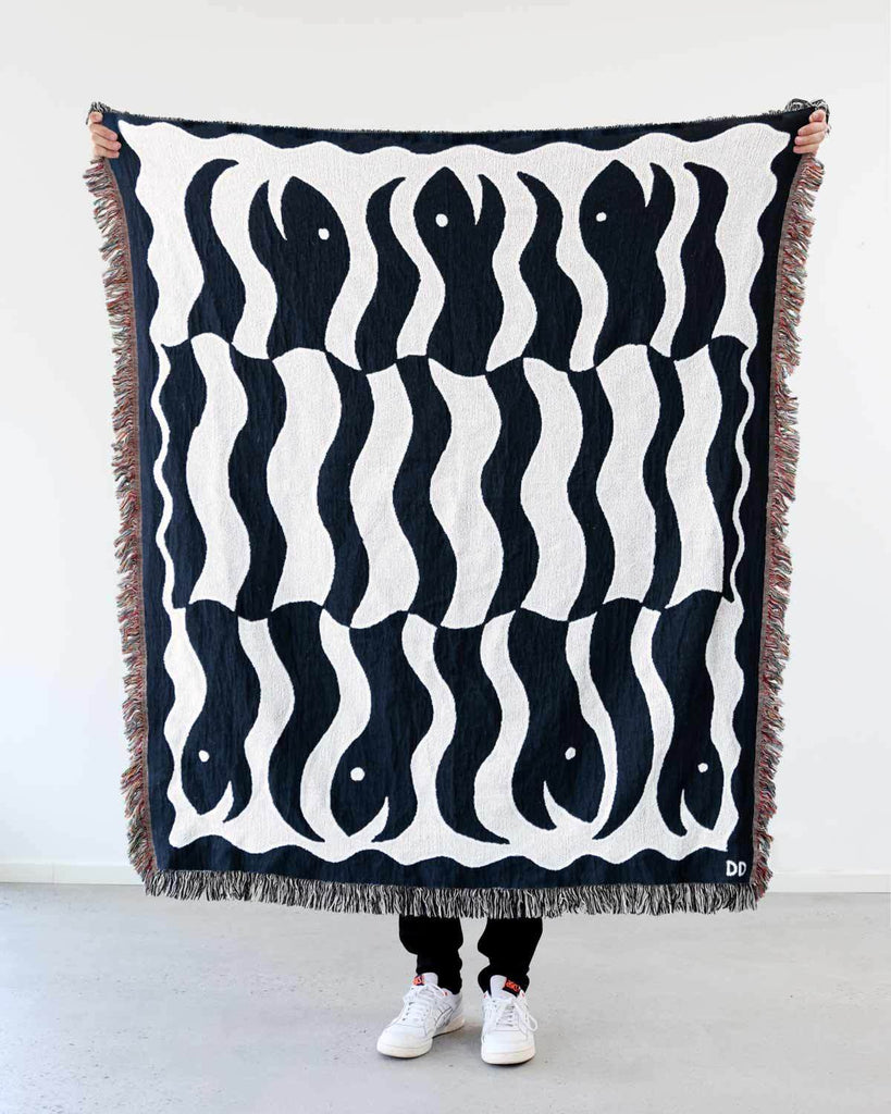 """Happy Snakes"" Black. Woven Art Blanket by Everyday Shaman"