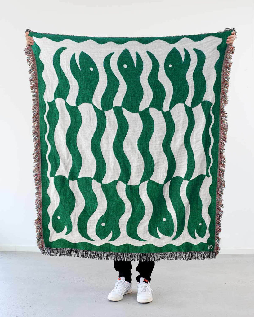 """Happy Snakes"" Dark Moss Green. Woven Art Blanket by Everyday Shaman"