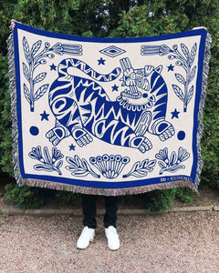 """Botanic Tiger"" Woven Art Blanket by Asis Percales"