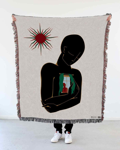 "NEW! ""Know Each Other"" Woven Art Blanket by Lena Mačka"