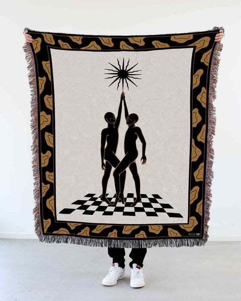 "NEW! ""Sun"" Woven Art Blanket by Lena Mačka"