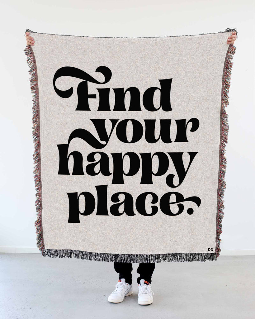 "NEW! ""Find Your Happy Place"" Woven Art Blanket by Mark Caneso"