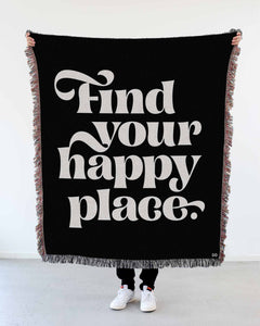 """Find Your Happy Place"" Woven Art Blanket by Mark Caneso"