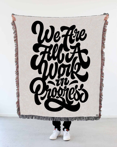 "NEW! ""We Are All a Work in Progress"" Woven Art Blanket by Mark Caneso"