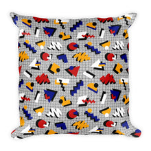 "Load image into Gallery viewer, ""Memphis Pop"" Gray Square Pillow by Hanna Kastl-Lungberg"