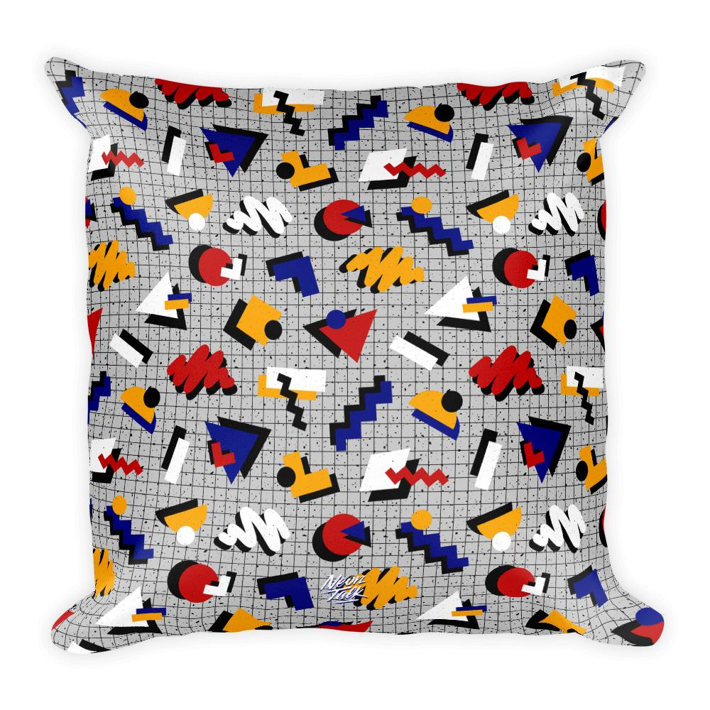 """Memphis Pop"" Gray Square Pillow by Hanna Kastl-Lungberg"