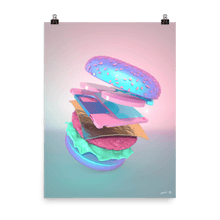 "Load image into Gallery viewer, ""Burger with Floppy Disk"" Art Print by Pastelae"