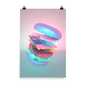 """Burger with Floppy Disk"" Art Print by Pastelae"