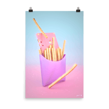 "Load image into Gallery viewer, ""Fries with Cassette"" Art Print by Pastelae"