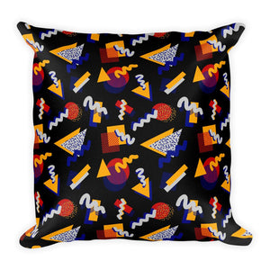 """Memphis Pop"" Black Square Pillow by Hanna Kastl-Lungberg"