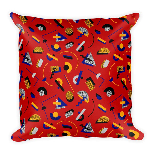 """MEMPHIS POP"" RED SQUARE PILLOW BY HANNA KASTL-LUNGBERG"
