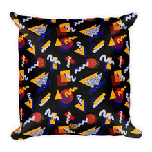 "Load image into Gallery viewer, ""Memphis Pop"" Black Square Pillow by Hanna Kastl-Lungberg"