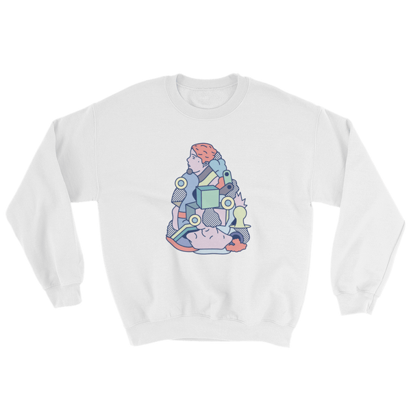 "Rikard Olsen Sweatshirt ""Deconstructing time again"" White"