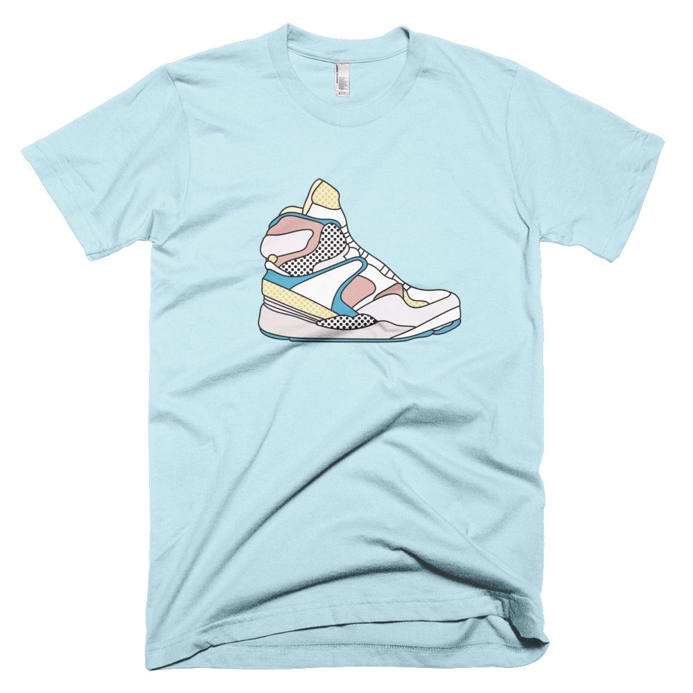 "Rikard Olsen Unisex T-shirt ""Percy's sneakers"" Light Blue"