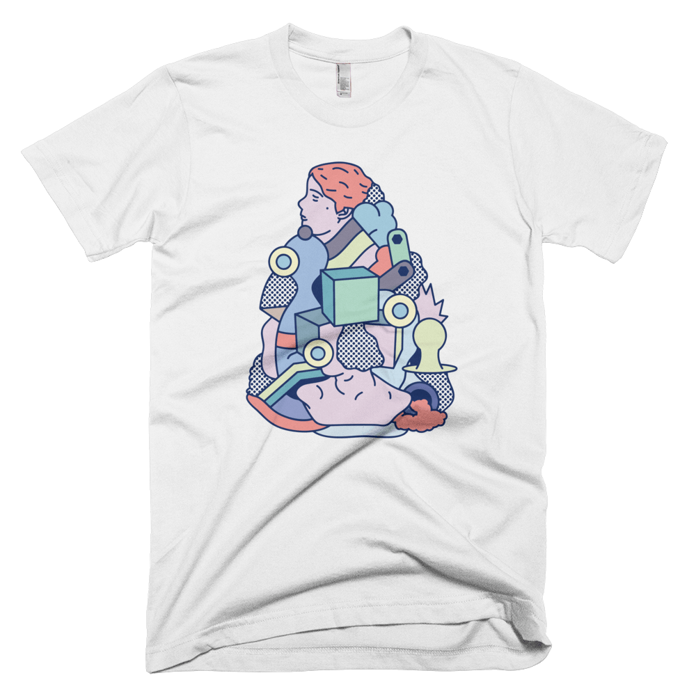 "Rikard Olsen Unisex T-shirt ""Deconstructing time again"" White"