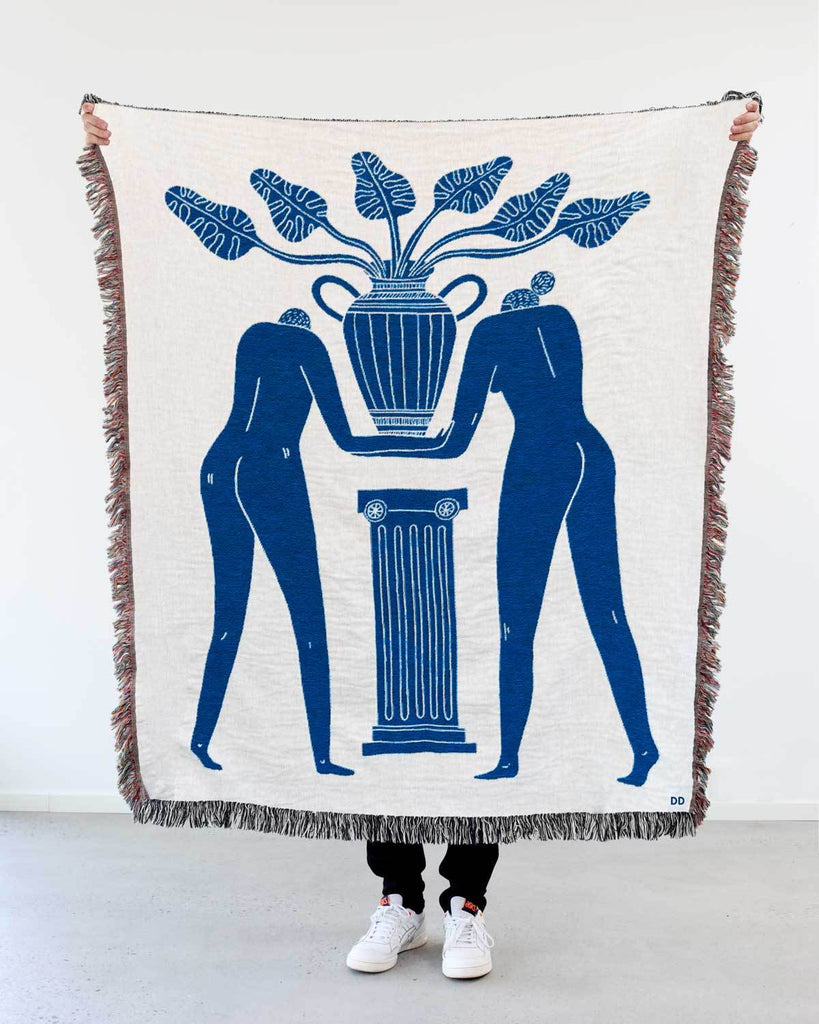 """Temple Plant"" Blue on White Woven Art Blanket by Mark Conlan"