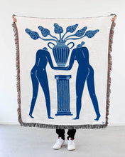 "Load image into Gallery viewer, ""Temple Plant"" Blue on White Woven Art Blanket by Mark Conlan"