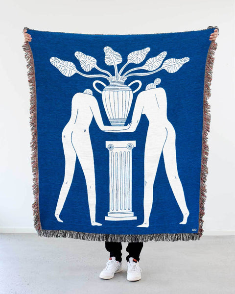 """Temple Plant"" White on Blue Woven Art Blanket by Mark Conlan"