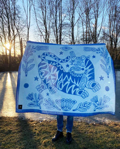 """Botanic Tiger"" Pure Wool Blanket by Asis Percales"