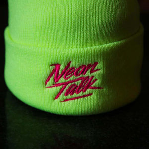 Neon Talk Knit Beanie. Neon Yellow