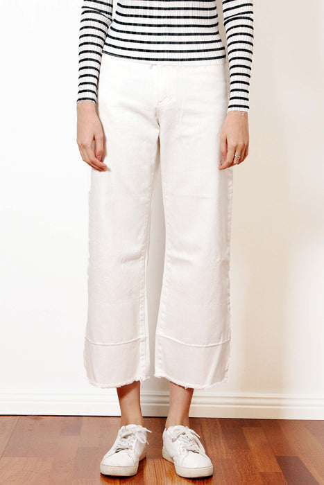 Destroyed Hem Jeans (White)