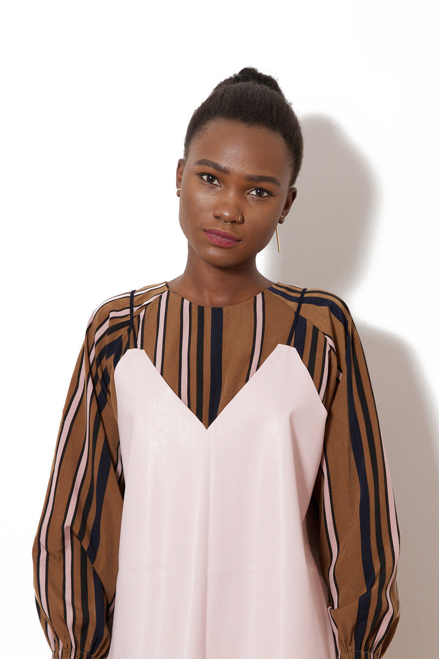 Stripe Ruffled Cuff Blouse (Pink)
