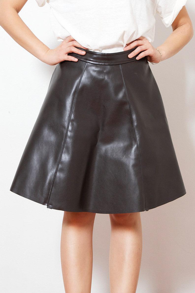 Dark Chocolate Leather Skirt
