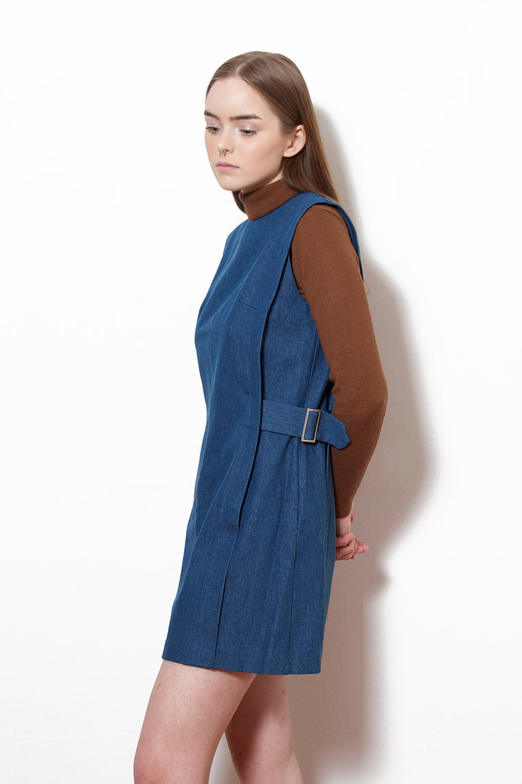 Denim Side-Belted Dress