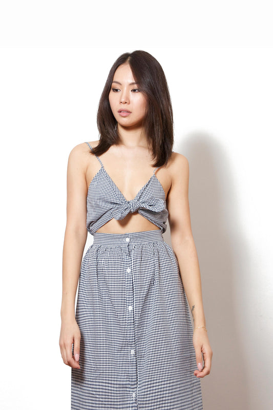 Front Ribbon-Tie Check Dress