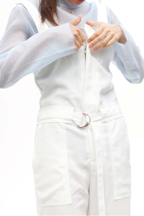 White Belted Front Zip Jumpsuit