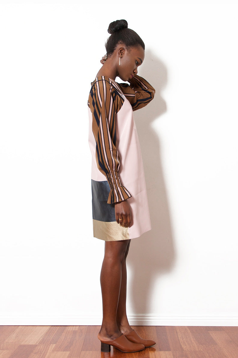Faux Leather Dress (Pink/Gold)