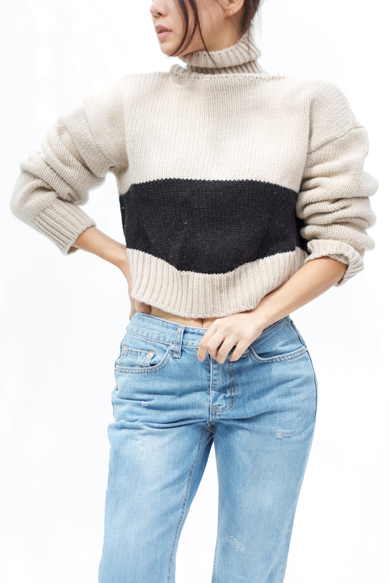 Cropped Block Turtleneck