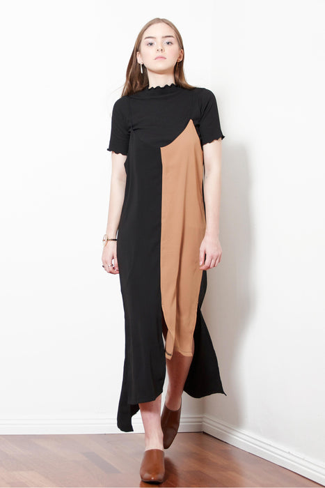 Black/Brown Unbalance Slip Dress