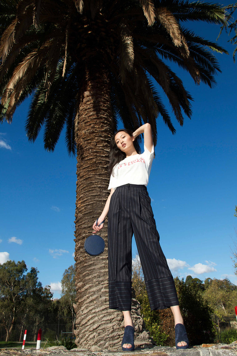 Pin Stripe Pants (Navy)