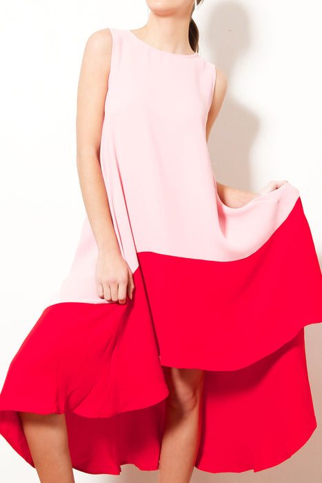 Colour Block Flare Dress