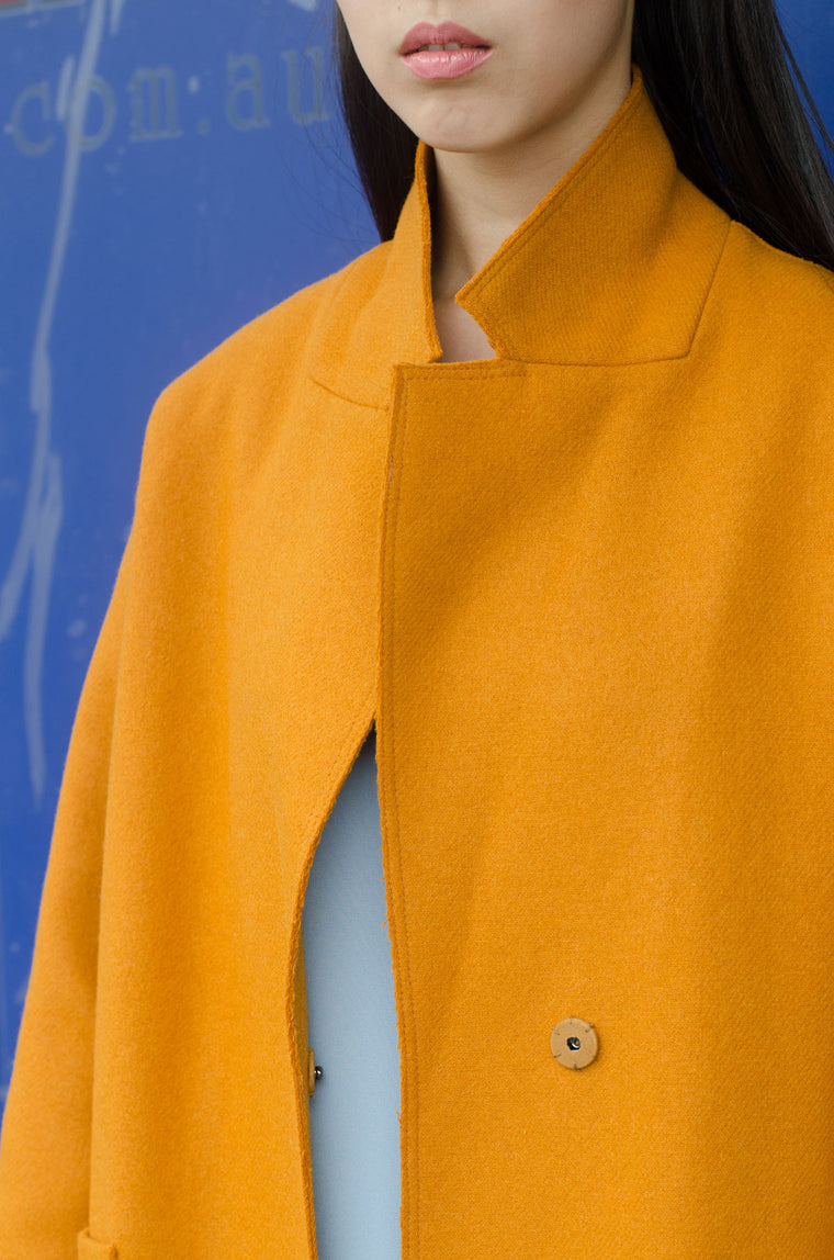 Mustard Raw Edge Long Coat