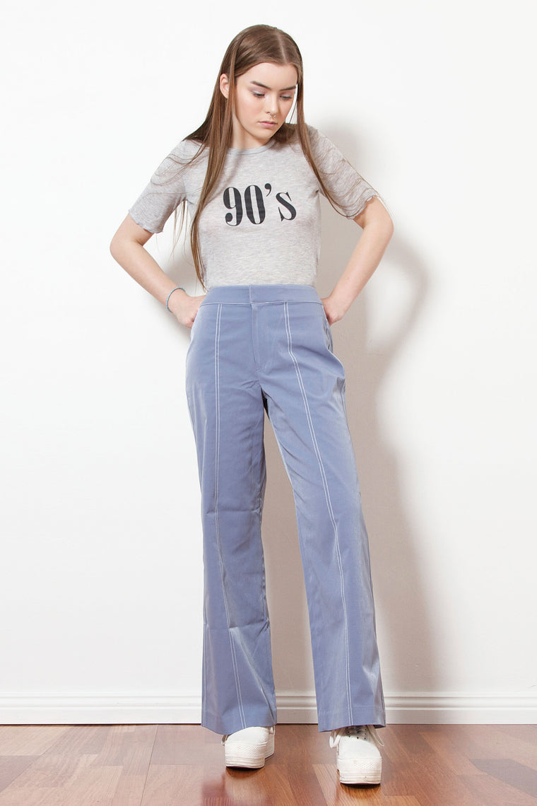 Stitch Cotton Pants (Blue)