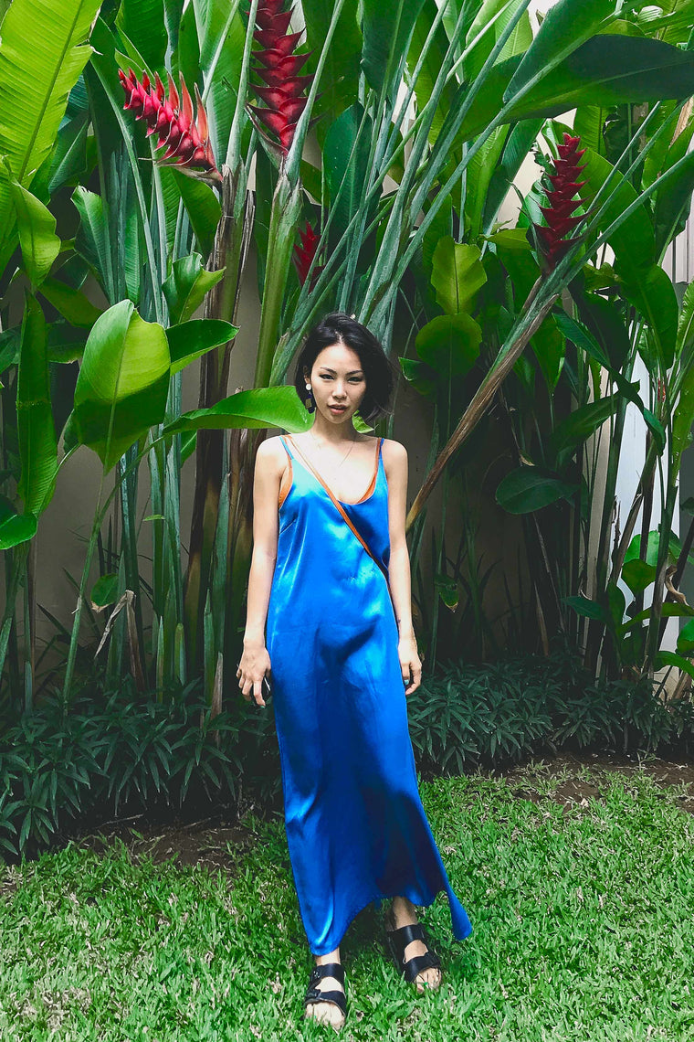 Silky Slip Dress (Blue)
