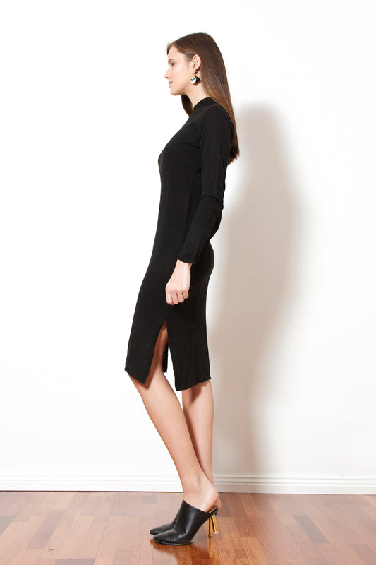 Plain Knit Dress (Black)