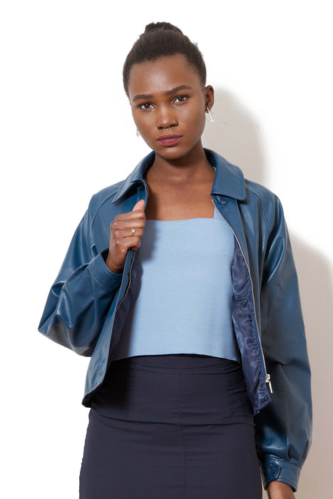 Faux Leather Jacket (Navy)
