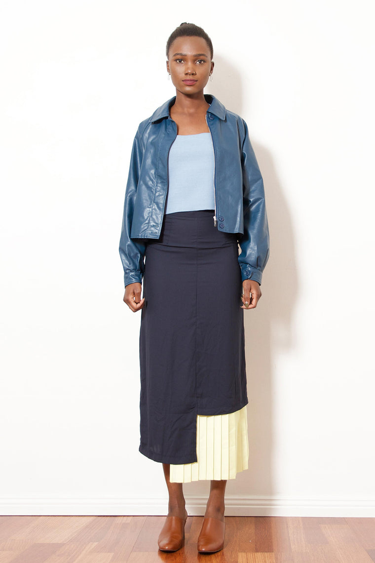 Half-Pleated Skirt (Navy/Yellow)