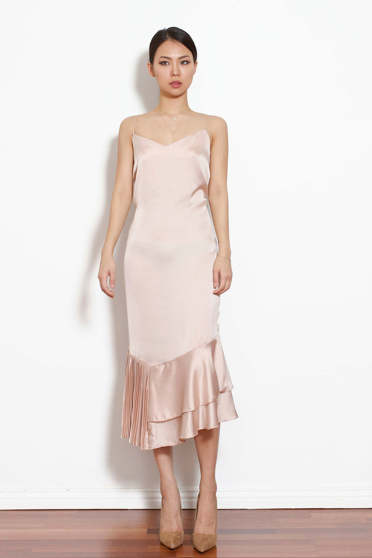 Unbalance Half-Pleated Dress (Pink)