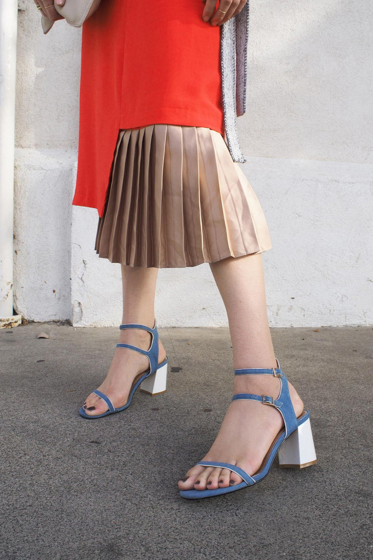 Half-Pleated Skirt (Red/Gold)
